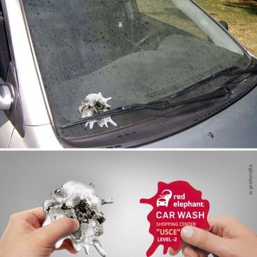 פרסום יצירתי של רשת מכוני השטיפה לרכבים Red Elephant